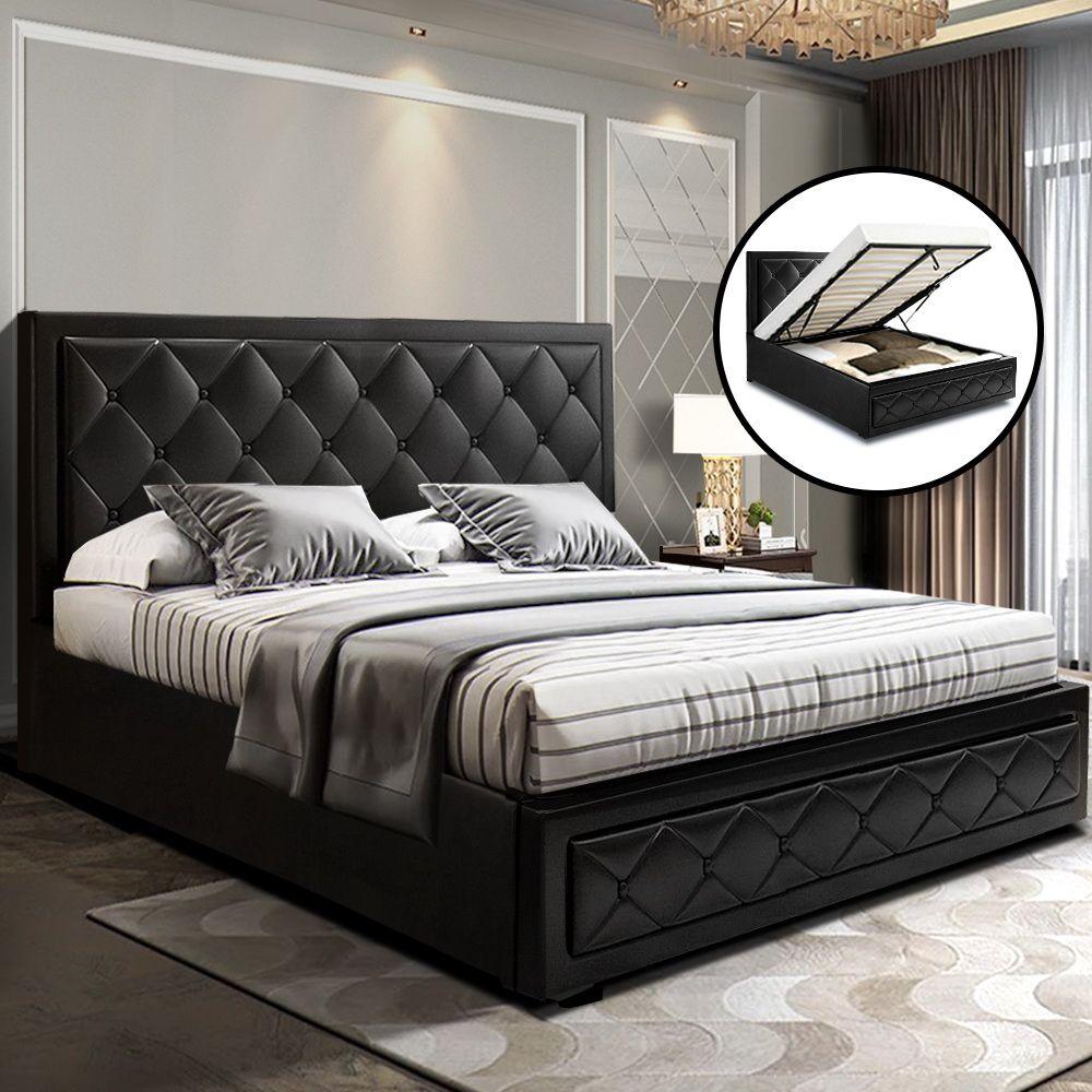 Warwick Black Storage Bed Frame Online Only Matt Blatt In 2020 Bed Frame With Storage Quilted Bed Frame Grey Storage Bed
