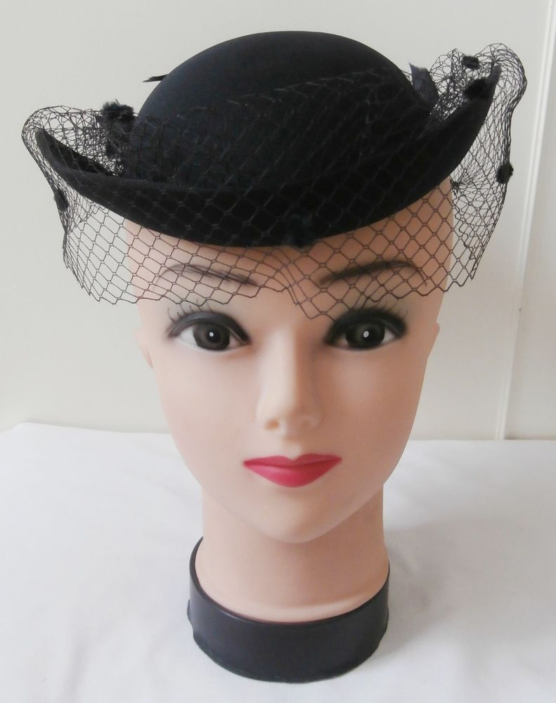 e6a6101a9a3bf Vintage 1980s Black Pill-Box Hat with Studded Russian Veil   Plume of  Feathers