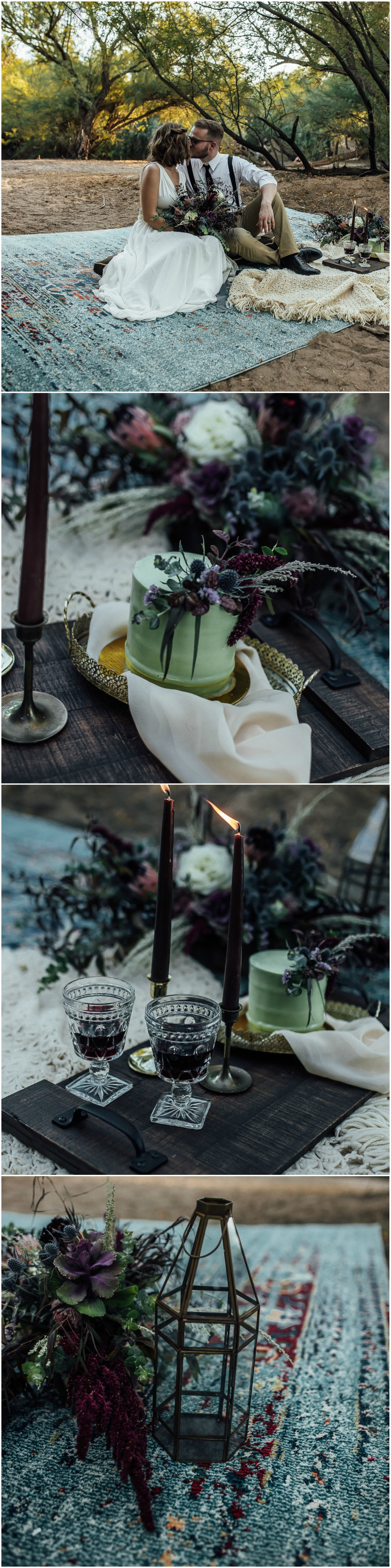 Elopement, Persian rug, lantern, small green cake, boho woodland escape // Beginning and End Photography