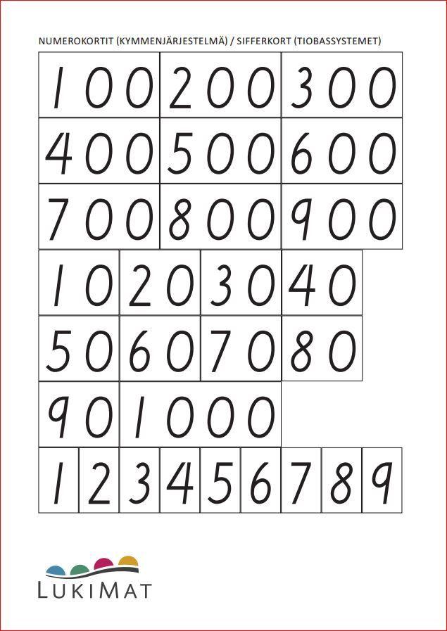 Numerokortit 0-1000 - kymmenjärjestelmä.