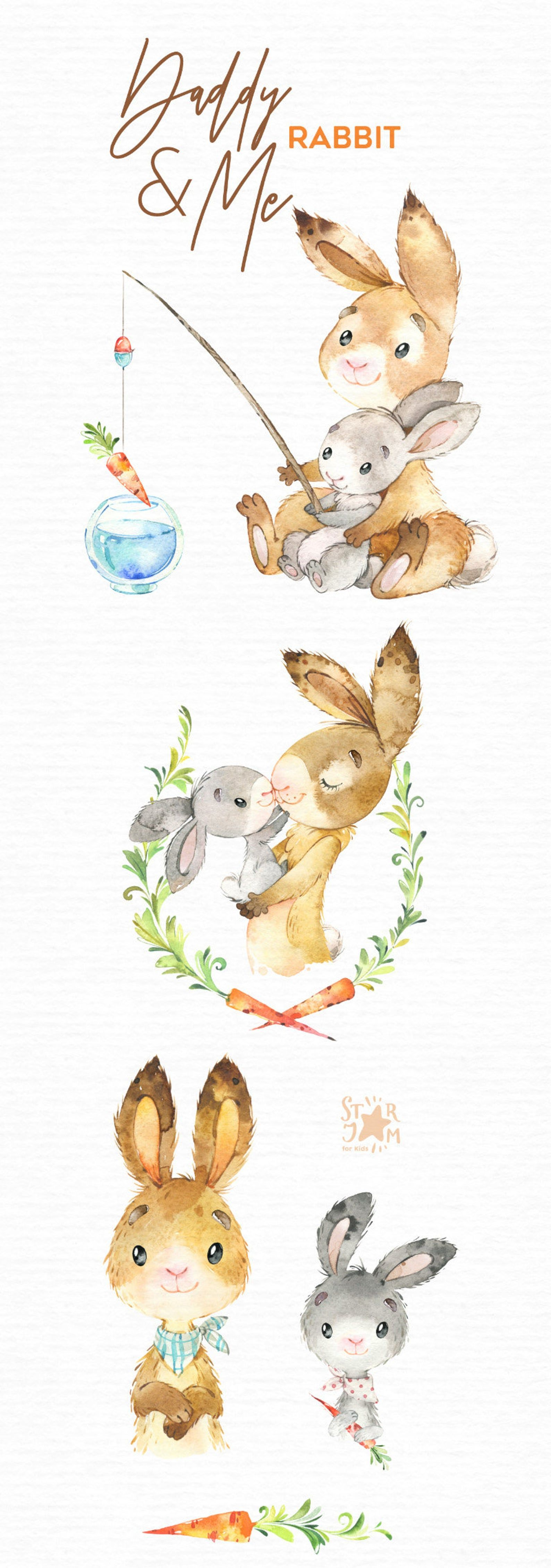 Daddy Me Rabbit Watercolor Animals Clipart Father Hugs Etsy In 2021 Watercolor Animals Animal Clipart Animals
