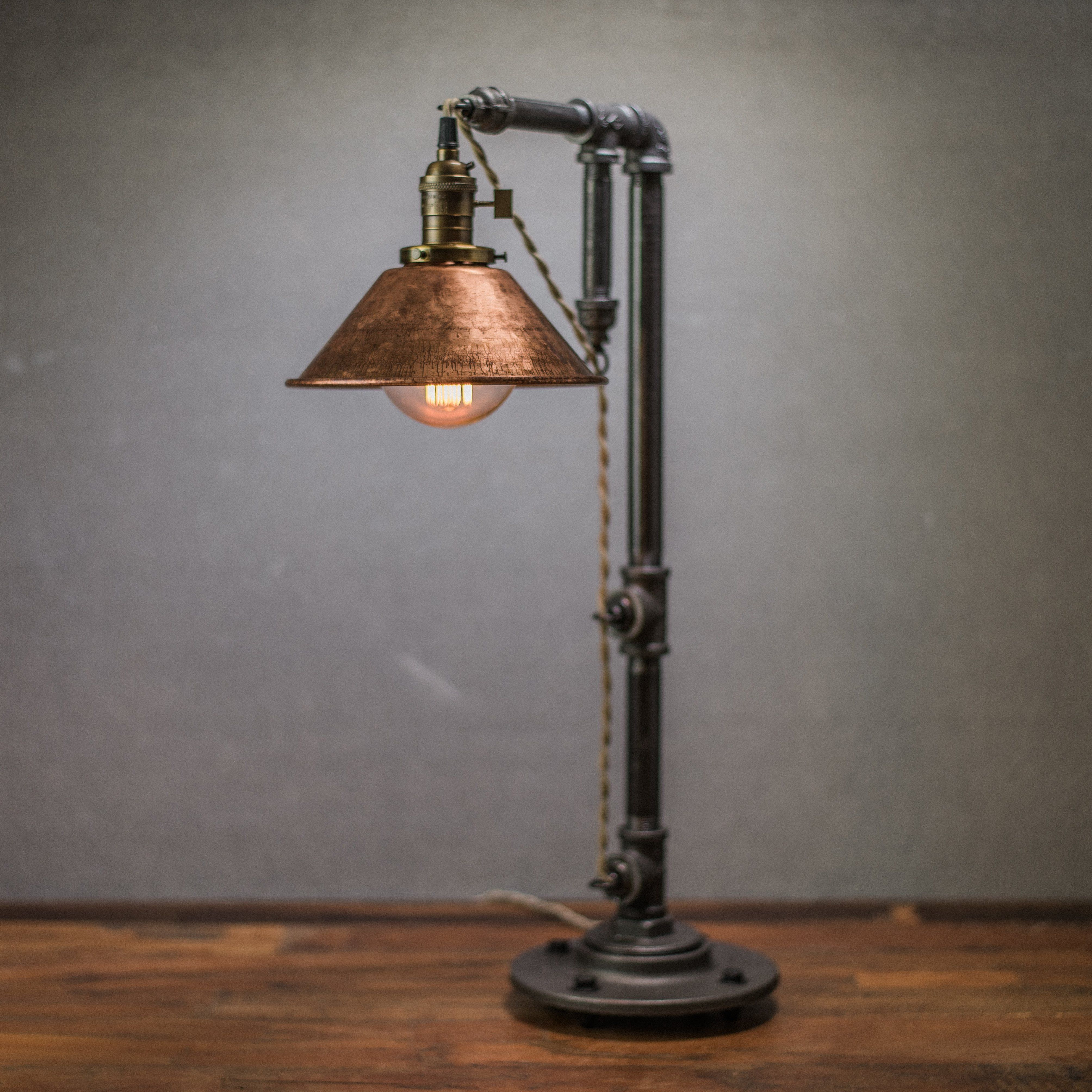 Hanging Table Lamp: Aged Copper Hanging Table Lamp