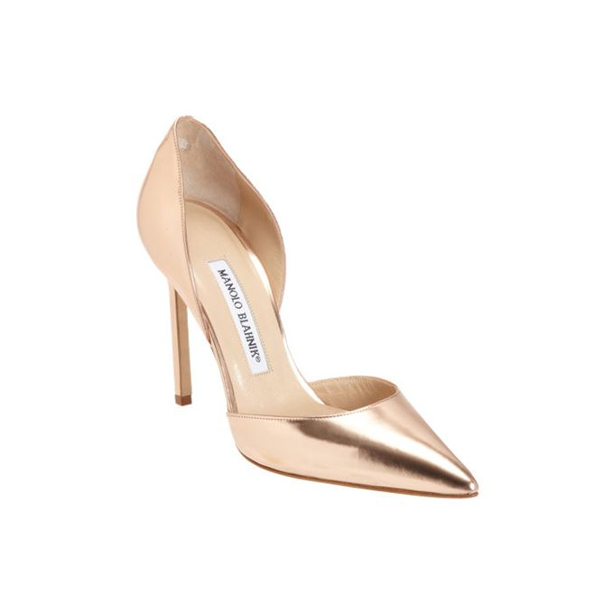 "Brides.com: 10 Crazy-Stylish Wedding Shoes You'll Wear Again . ""Tayler Pump"", $735, Manolo Blahnik available at Barneys  Browse more gold wedding accessories."