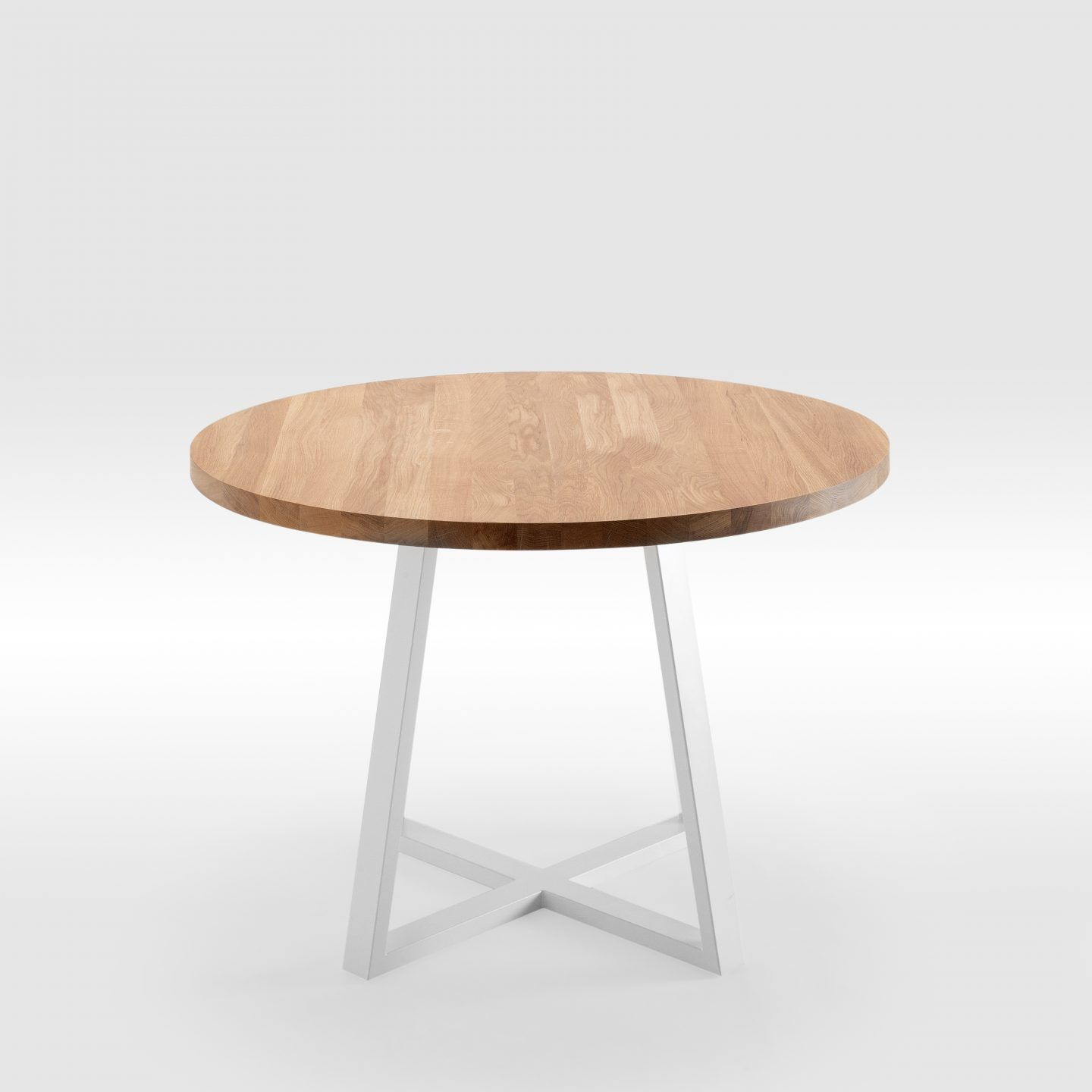 Discover Round Natural Oak Table With Modern Steel Legs By On