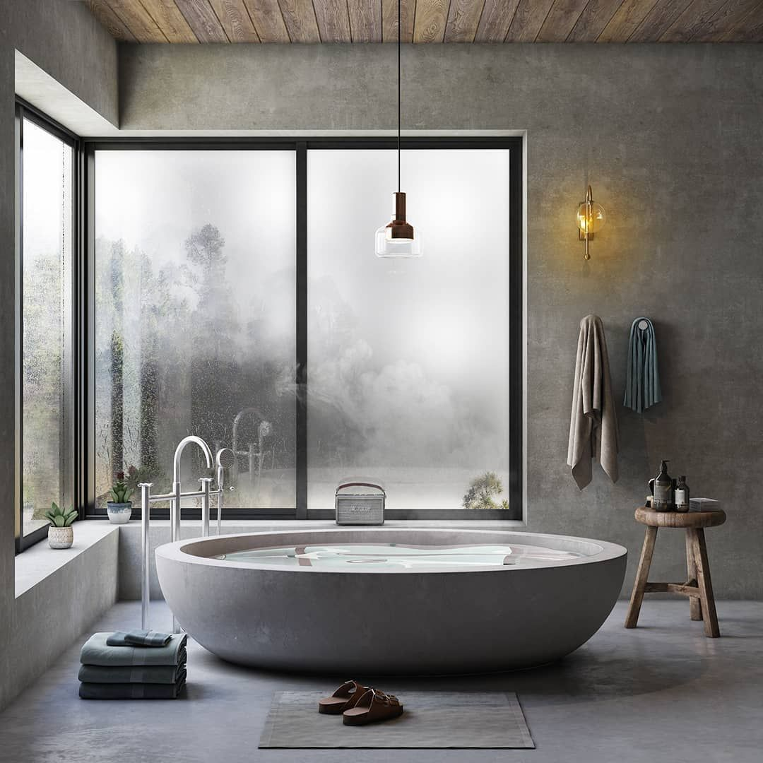 """Photo of UnitRenderspace on Instagram: """"Minimalist Bathroom 🛁 Render by: Tansu Fidan  Follow for more @unitrenderspace Feel free to share your thought's below👇 Tag your friends 👥…"""""""