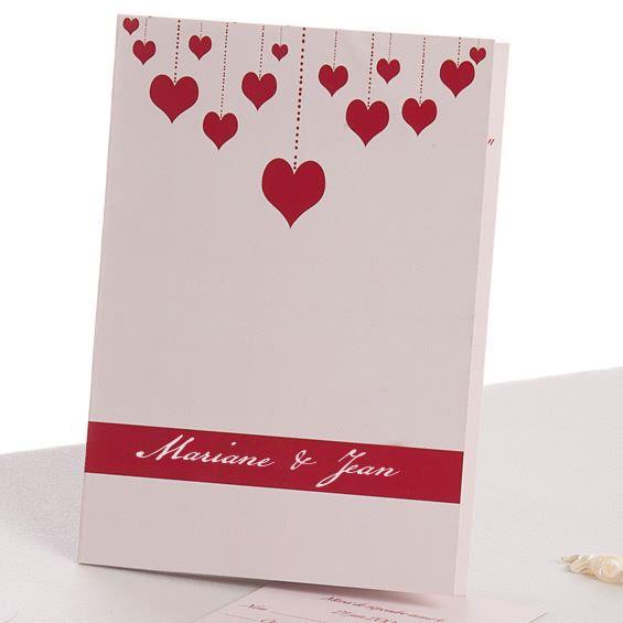 Faire,Part Mariage Cœur Romantique De Jolis Rideaux Rouge JM433