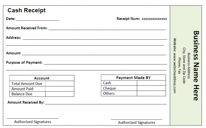 Cash Receipt Template  Cash Recepit