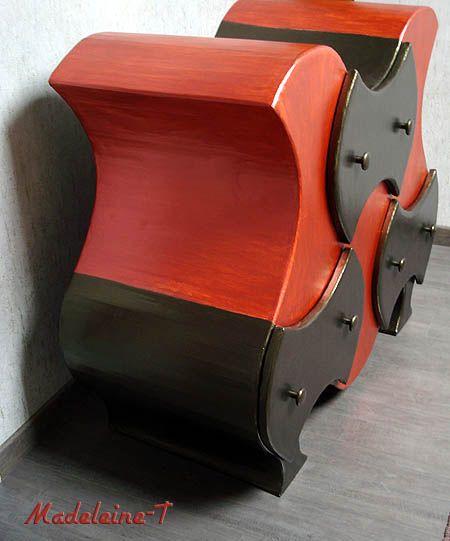 Meuble en carton orange et marron vu de coté meuble carton