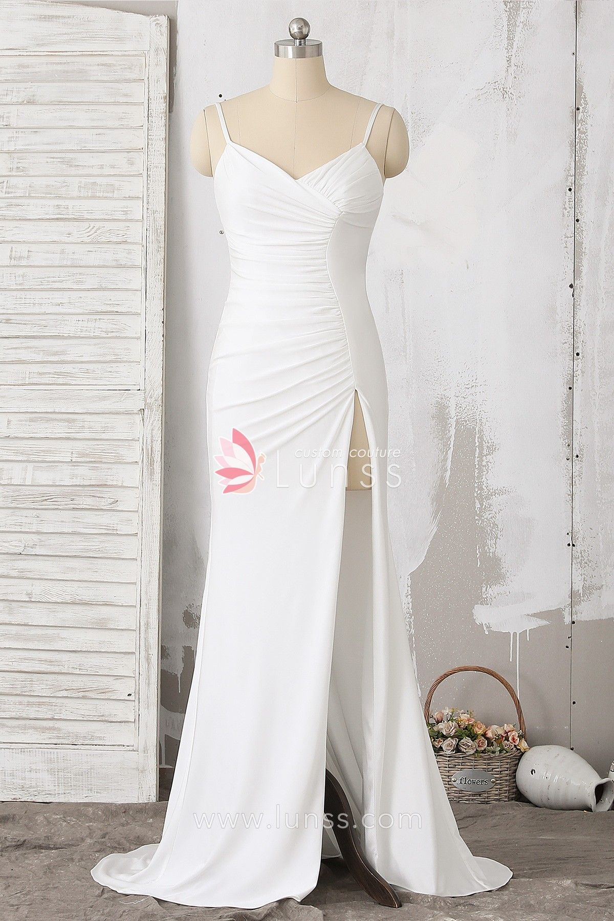 b55a07331bc3d This elegant formal dress features pleated bodice with spaghetti straps and V  neckline, sexy high slit and petty train. It is a wonderful evening gown  for ...