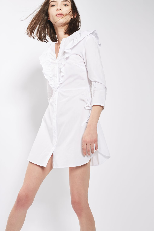 8cfe36d0f31 Topshop Poplin Ruffle Shirt Dress in White