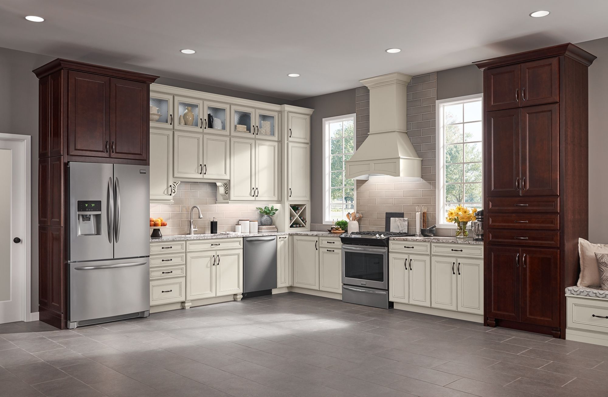Macarthur By American Woodmark In Painted Ember Dreamy White Kitchen Rustic Semi Custom Kitchen Cabinets Inexpensive Kitchen Cabinets