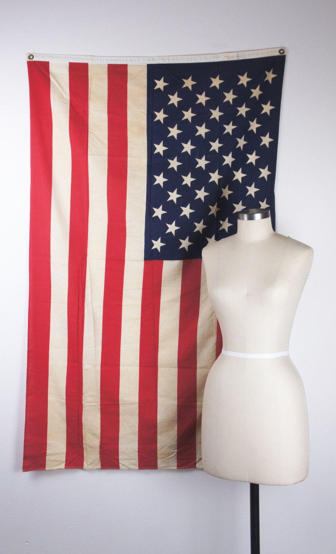 3acbfa8b684 Vintage 100% Cotton American Flag