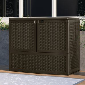 Outdoor Suncast Backyard Oasis Storage And Entertaining Station With Shelf