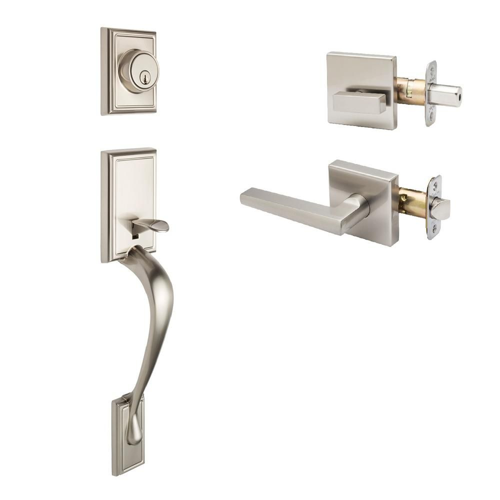 Fashion Satin Stainless Handle Set and Verona Lever Trim