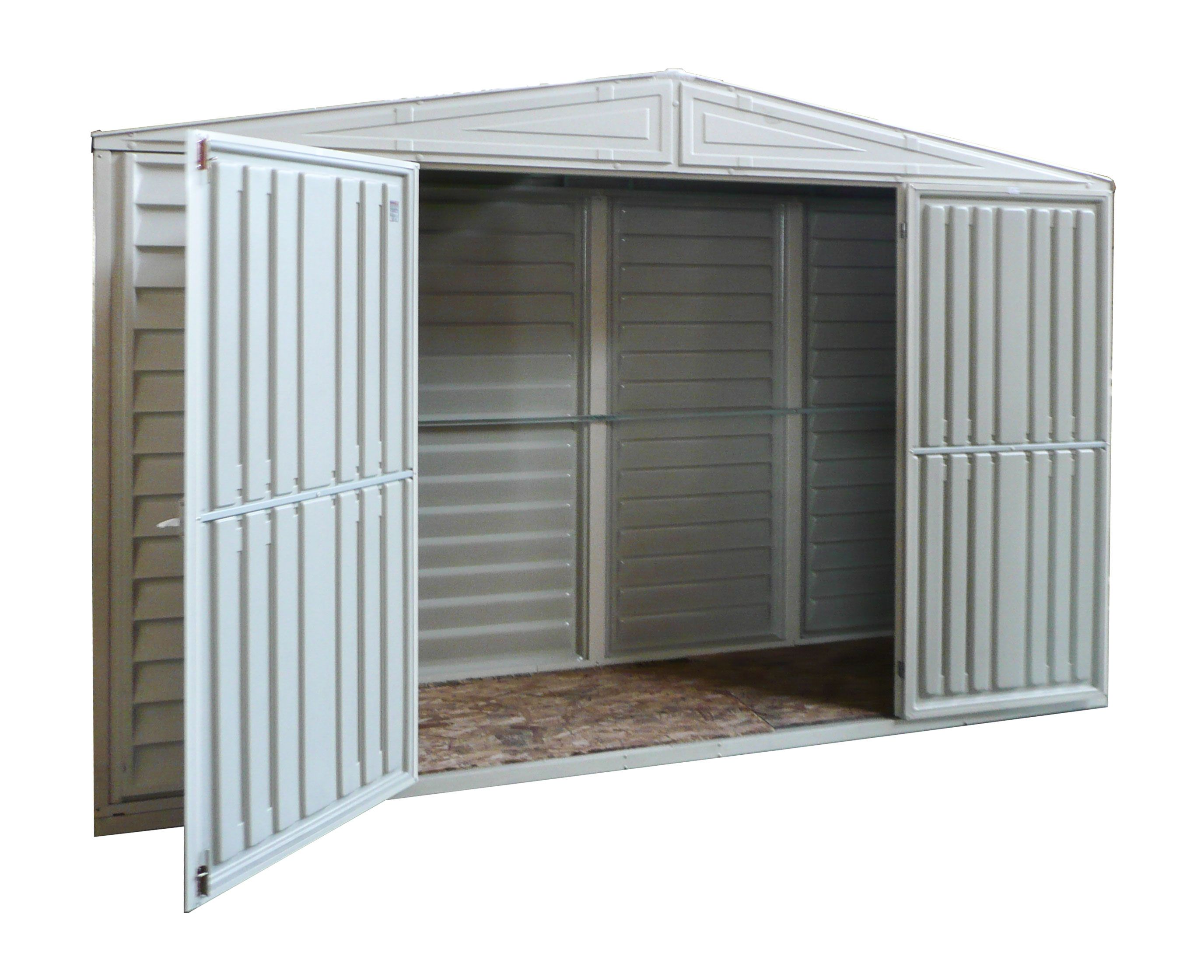 The 10 5x2 5 Sidepro Vinyl Shed Perfect For Small Spaces Features Wide Double Doors Base Frame The Most Durabl Vinyl Sheds Vinyl Storage Sheds Shed Storage