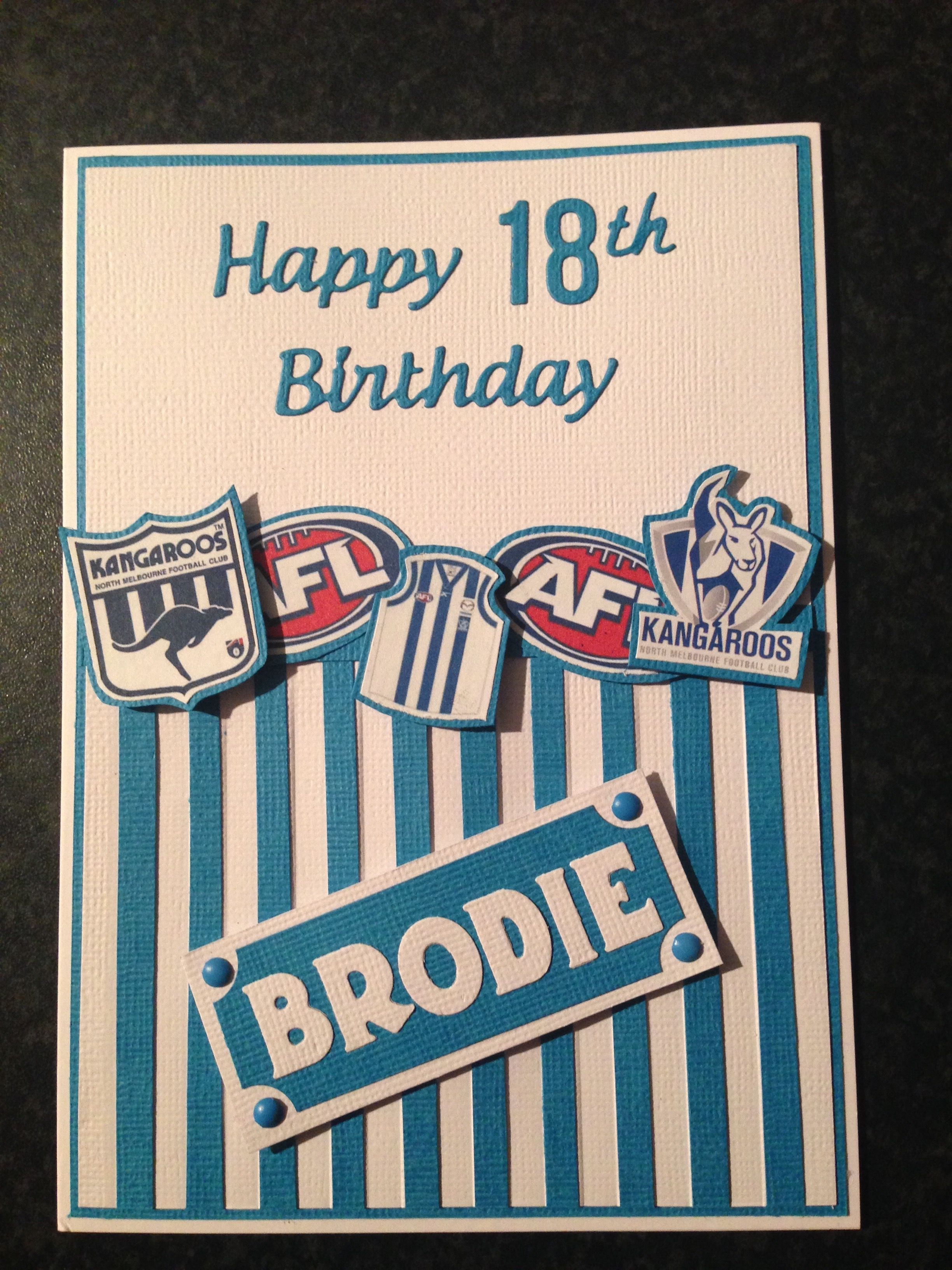 North Melbourne Kangaroos Afl 18th Birthday Card My Cards