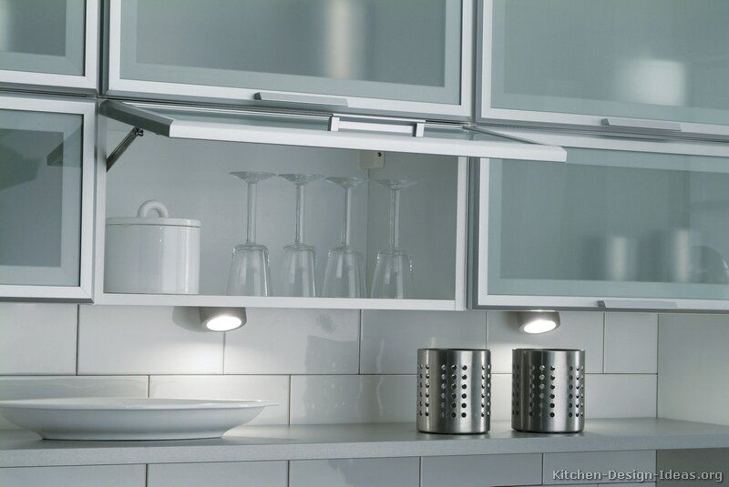 White aluminum kitchen cabinets pictures of kitchens for Glass kitchen wall units