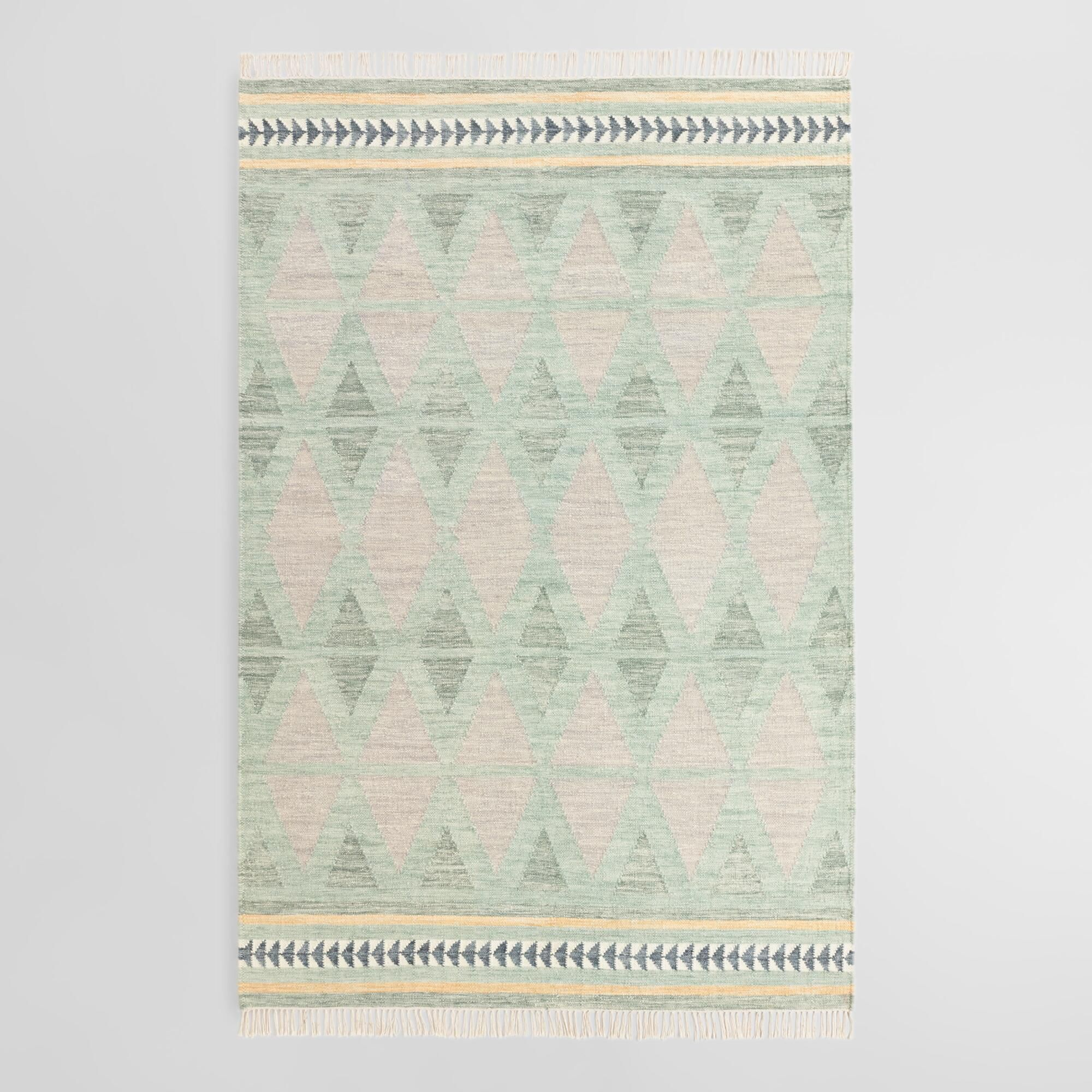 Green and gray diamond wool kilim bakari area rug u x u by
