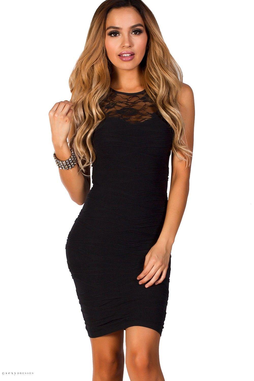 Lace cut out bodycon black tank mini dress one size dress fits