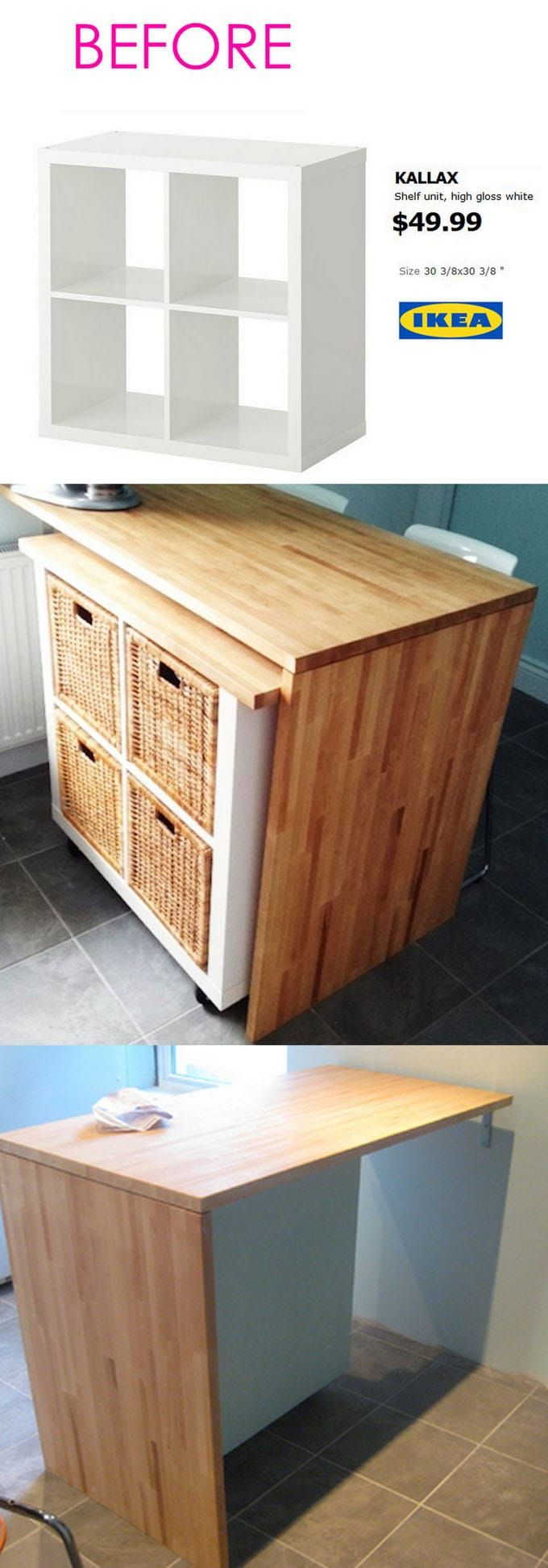 20+ Smart and Gorgeous IKEA Hacks: save time and money with functional designs and beautiful transformations. Great ideas for every room such as IKEA hack bed, desk, dressers, kitchen islands, and more! - A Piece of Rainbow #ikea #ikeahack #kitchenisland #kitchen #diy #furniture #woodworkingprojects #woodworkingplans #apieceofrainbow #diy #homedecor #hacks #kitchenideas #farmhouse #farmhousedecor #organizing #organization #organize #storage #declutter