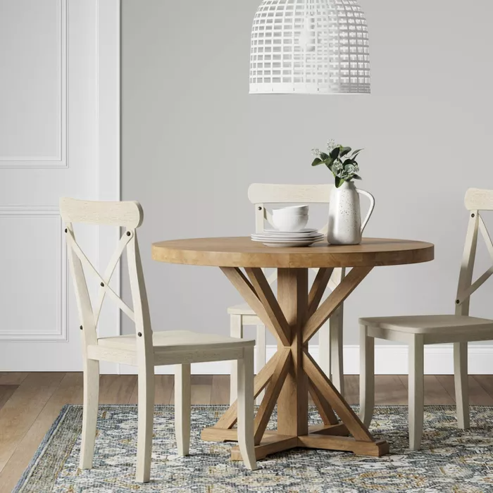 42 Litchfield Round Dining Table Light Brown Threshold In 2020 Circle Dining Table Small Dining Table Dining Room Small