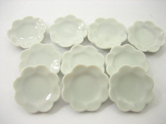 White Round Bowls Dollhouse Miniatures Ceramic Supply Food 10880 20 x15 mm