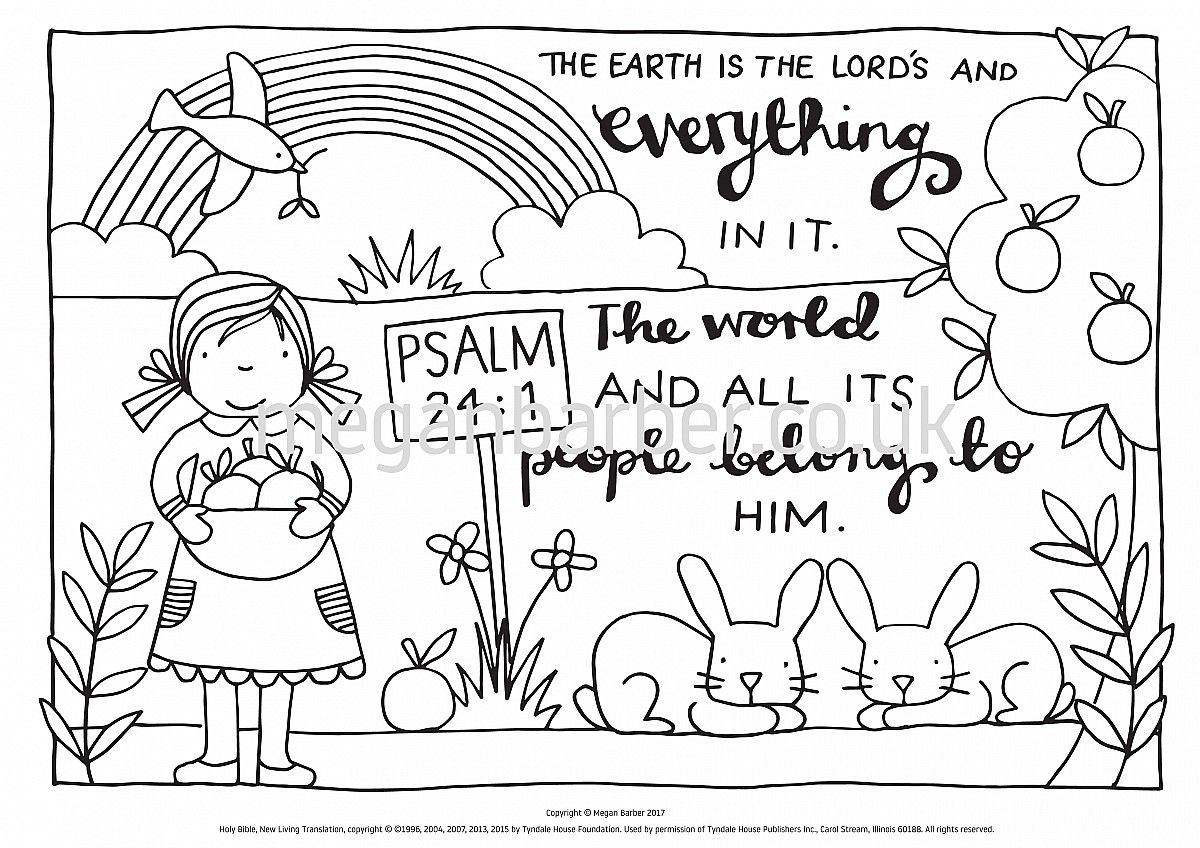 Colouring Sheet Featuring A Simple Typographic Illustration With The Words From Psalm 24 1 Download And Print Off For Just 1 Psalm 24 Psalms Coloring Sheets