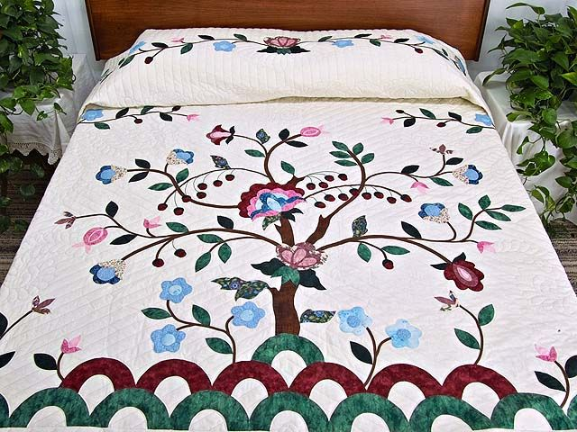 Rose Blue and Green Tree of Life Appliqué Quilt Photo 1http://www ... : appliqued quilts - Adamdwight.com