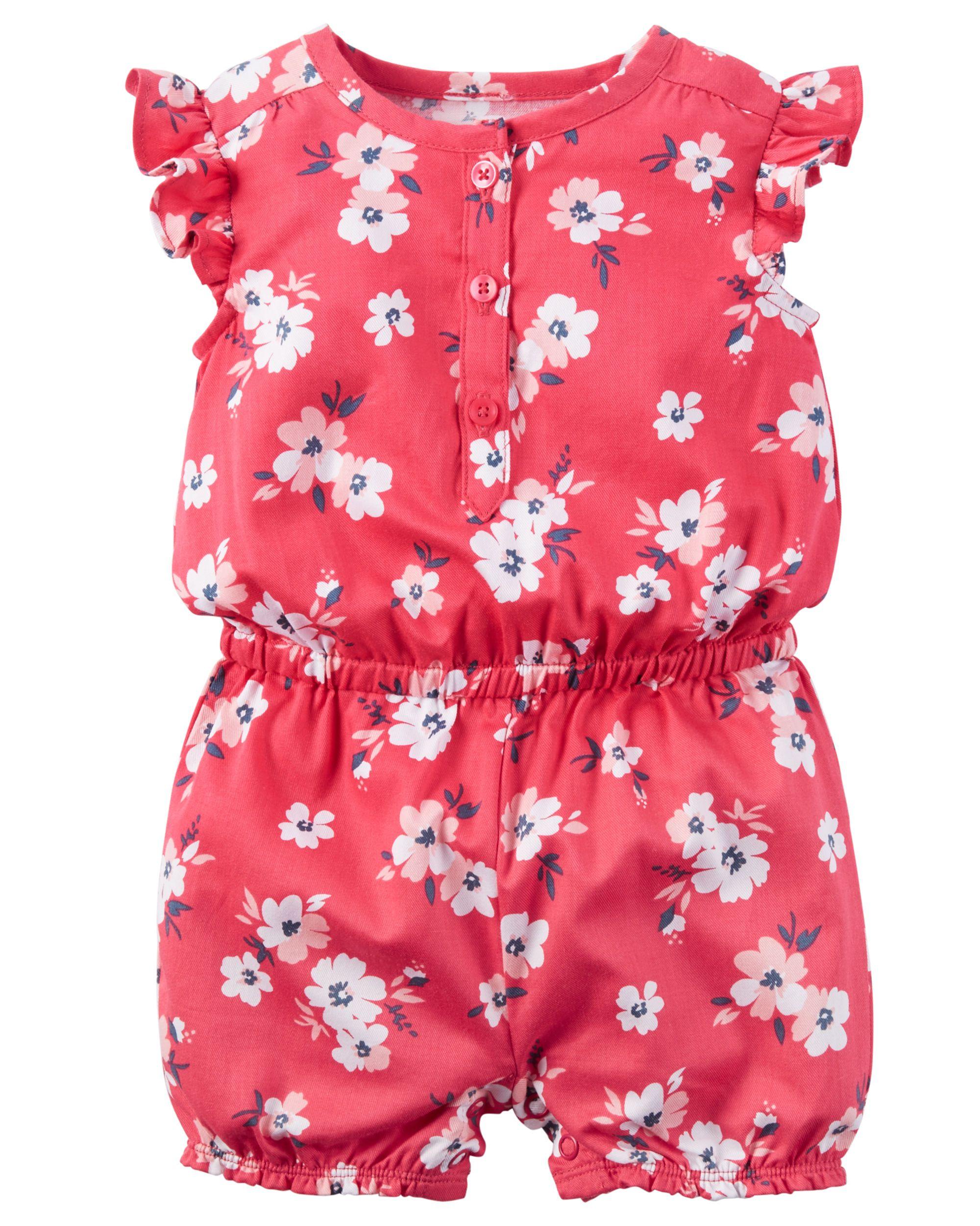f452e8d520a Baby Girl Floral Flutter-Sleeve Romper