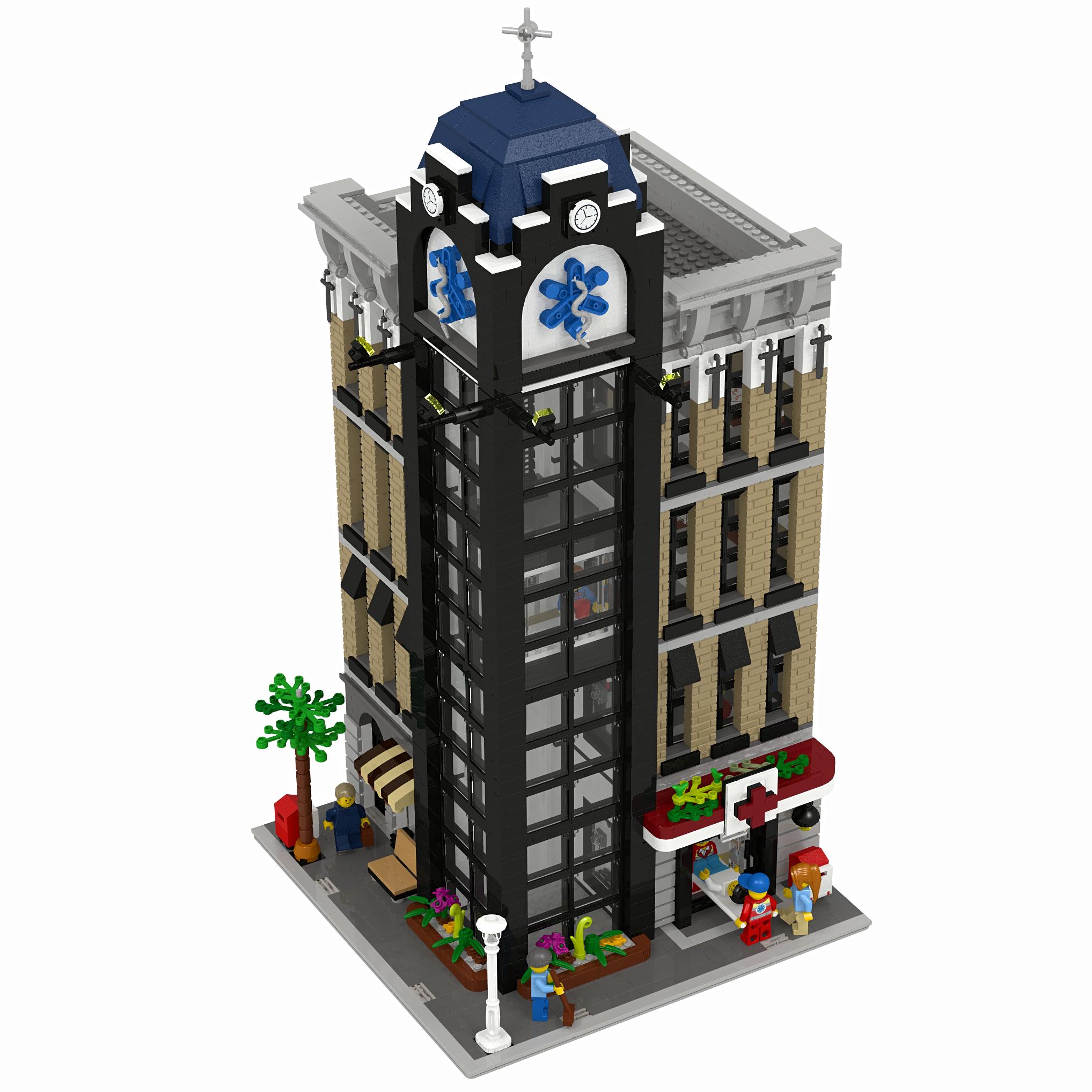 LEGO Custom Modular Hospital - INSTRUCTIONS ONLY   Lego Building