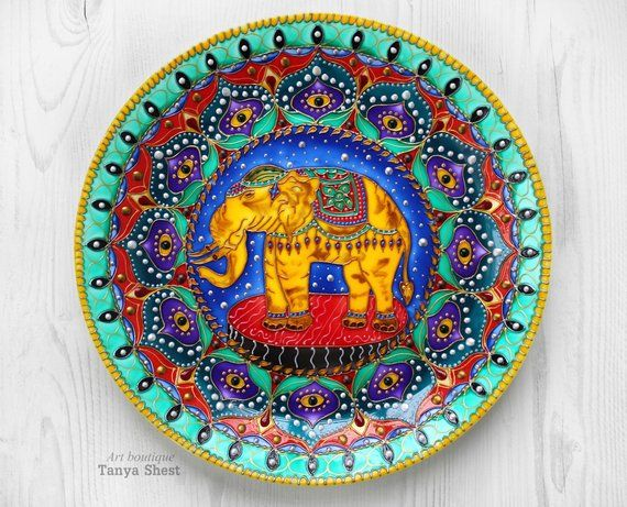 Decorative Plate Elephant Wall Hangings Hand Painted