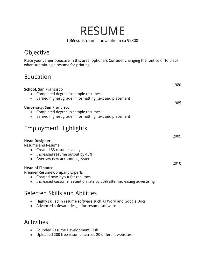 simple resume format for job