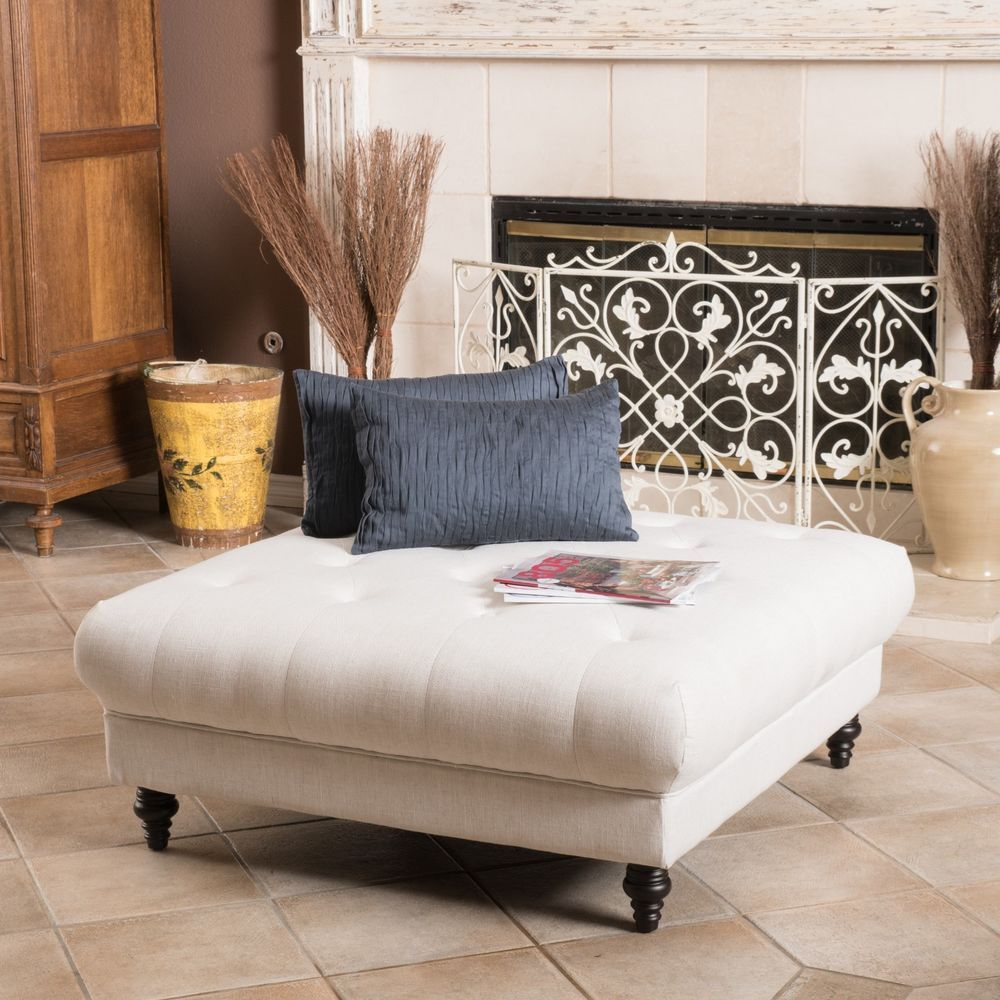 Elegant Fabric Tufted Ottoman Footstool Coffee Table GDFStudio