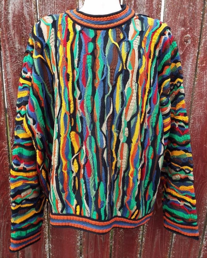 d635add32b5 Coogi 3D Bright Multicolor 1XL Mercerized Cotton Knit Crew Sweater Cosby  Biggie  COOGI  Crewneck