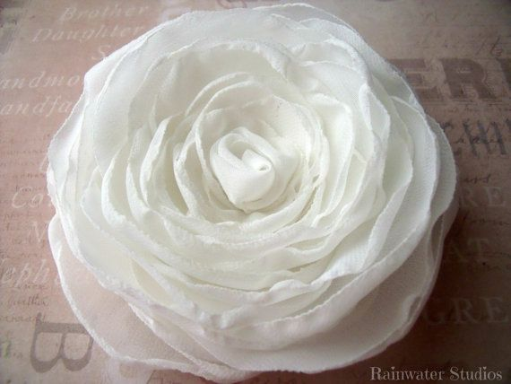 Wedding Hair Flower  Ivory Chiffon Double Rose by RainwaterStudios, $25.00