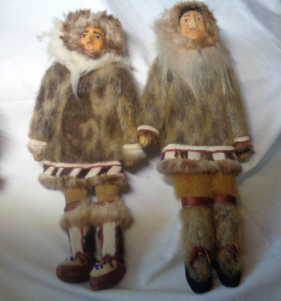 vintage inuit eskimo dolls two w wood head traditional fur