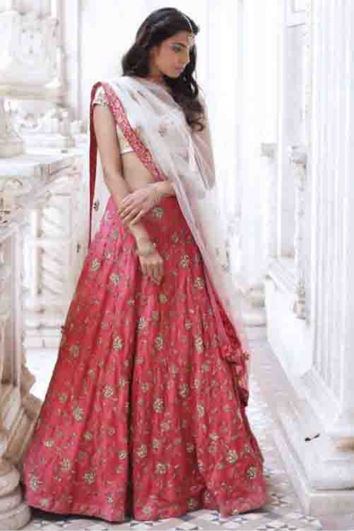 2dff361560 Buy Silk Lehenga Choli In Pink And White Colour for women @  ninecolours.com. Customize Tailoring available!