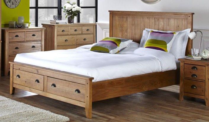 Best 150Cm Bedstead Wild Coast 2 End Drws Brushed Pine Wooden 640 x 480