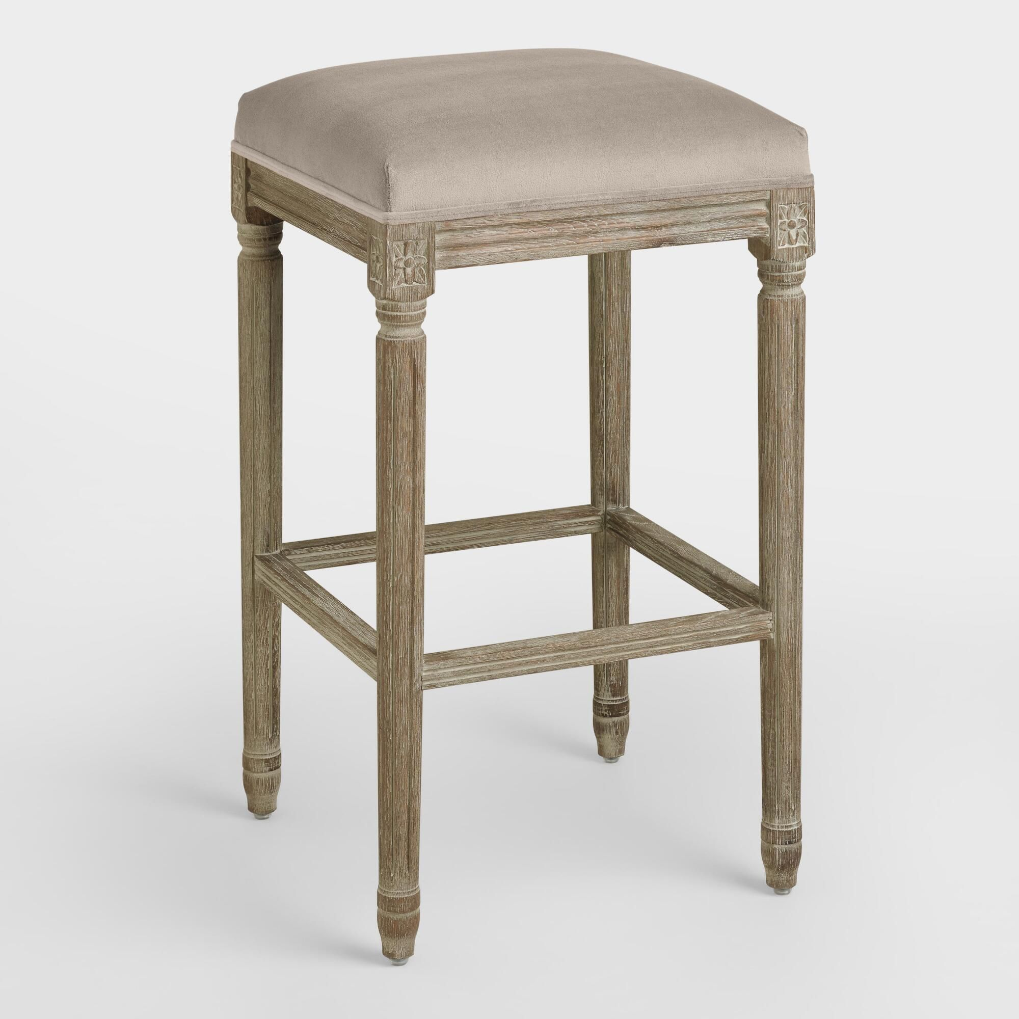 Amazing Cocoa Paige Backless Barstool Brown Fabric By World Pdpeps Interior Chair Design Pdpepsorg