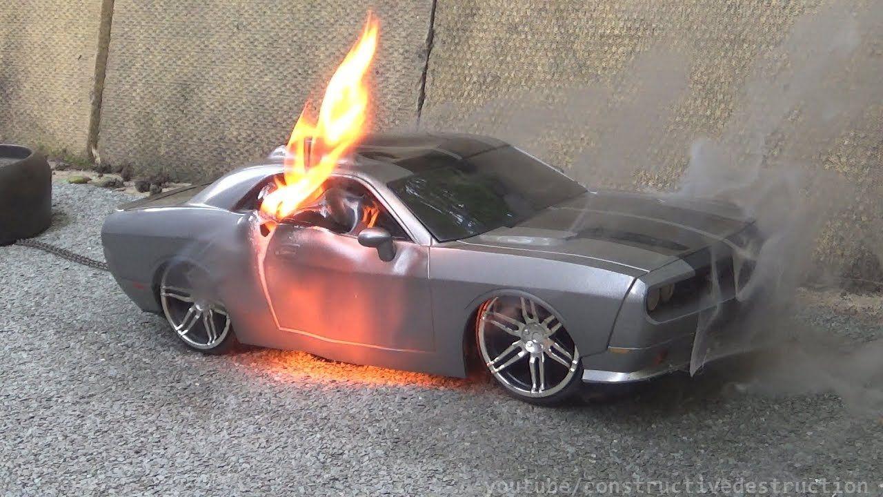 Rc Car Burnout Ends In Flames Rc Car Destruction Youtube Rc