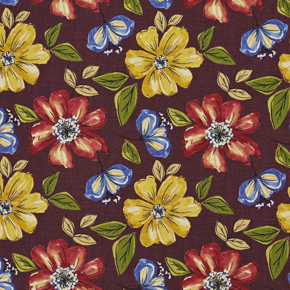 Blue Red Yellow And Green Floral Outdoor Print Upholstery Fabric