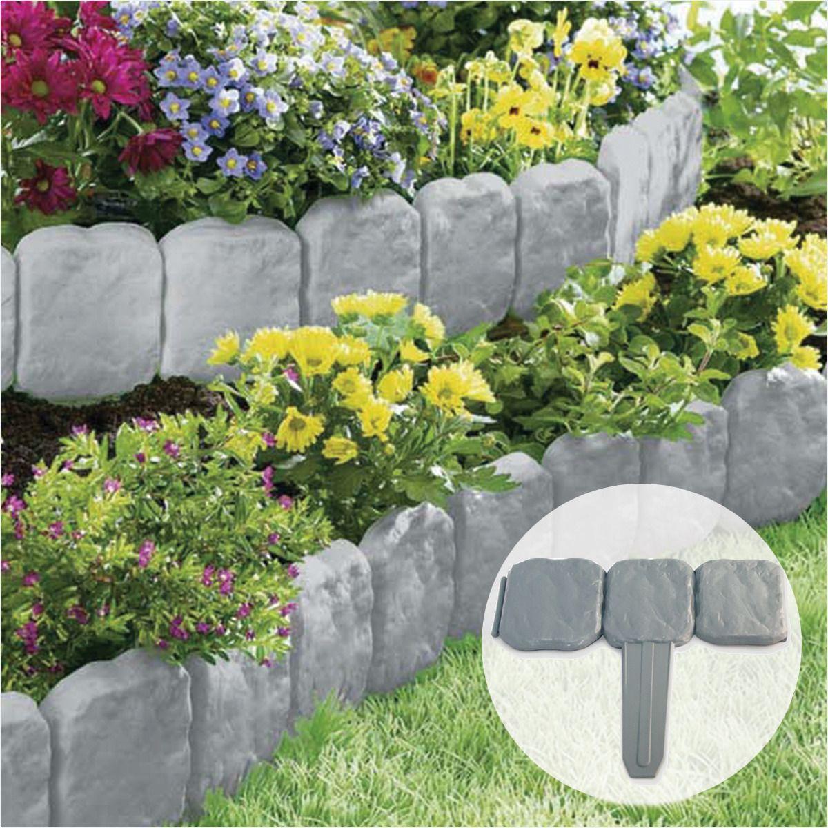Grey Stone Slab Effect Garden Border Plastic Edging Flower Primary Garden Flower Bed Edging Ju68669 Fast 53 In 2020 Garden Edging Garden Flower Beds Flower Bed Edging