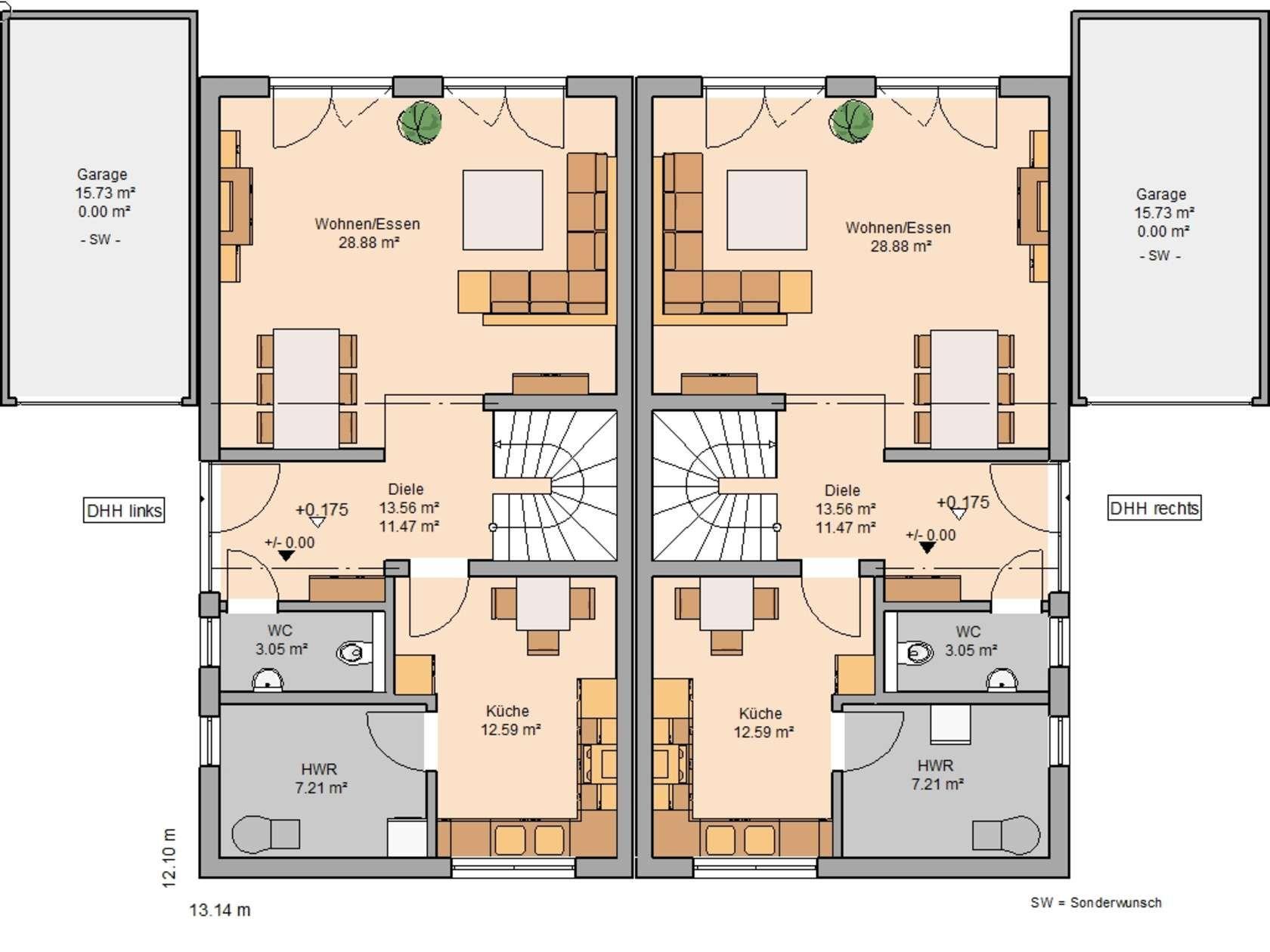 Kern haus doppelhaus view grundriss erdgeschoss house for Architektenhaus grundriss