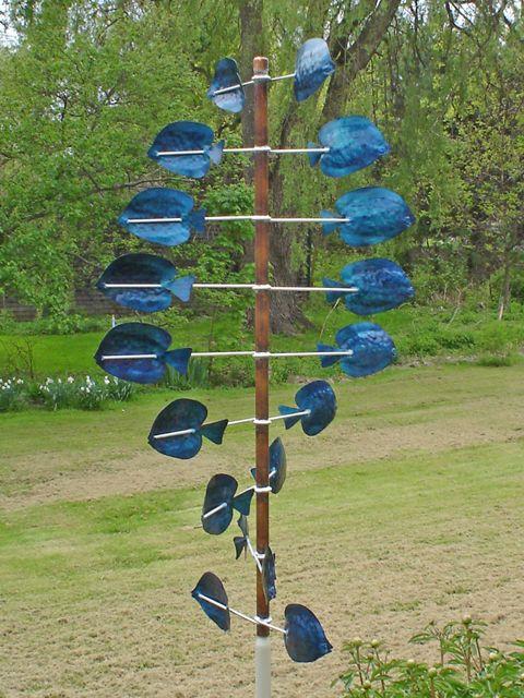 Blue Tang Garden Wind Sculpture Turns With The Slightest Breeze