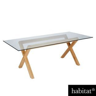 Habitat Dublin 8 Seater Oak And Glass Dining Table From
