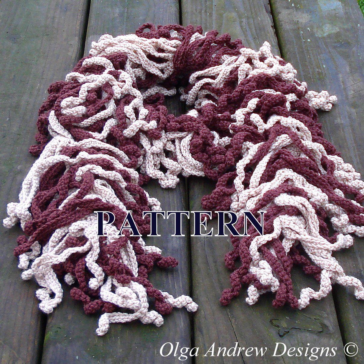 Crochet scarf pattern ruffle scarf crochet pattern crochet scarf fringed curly tassels scarf zebra easy crochet tutorial pattern instant download dt1010fo
