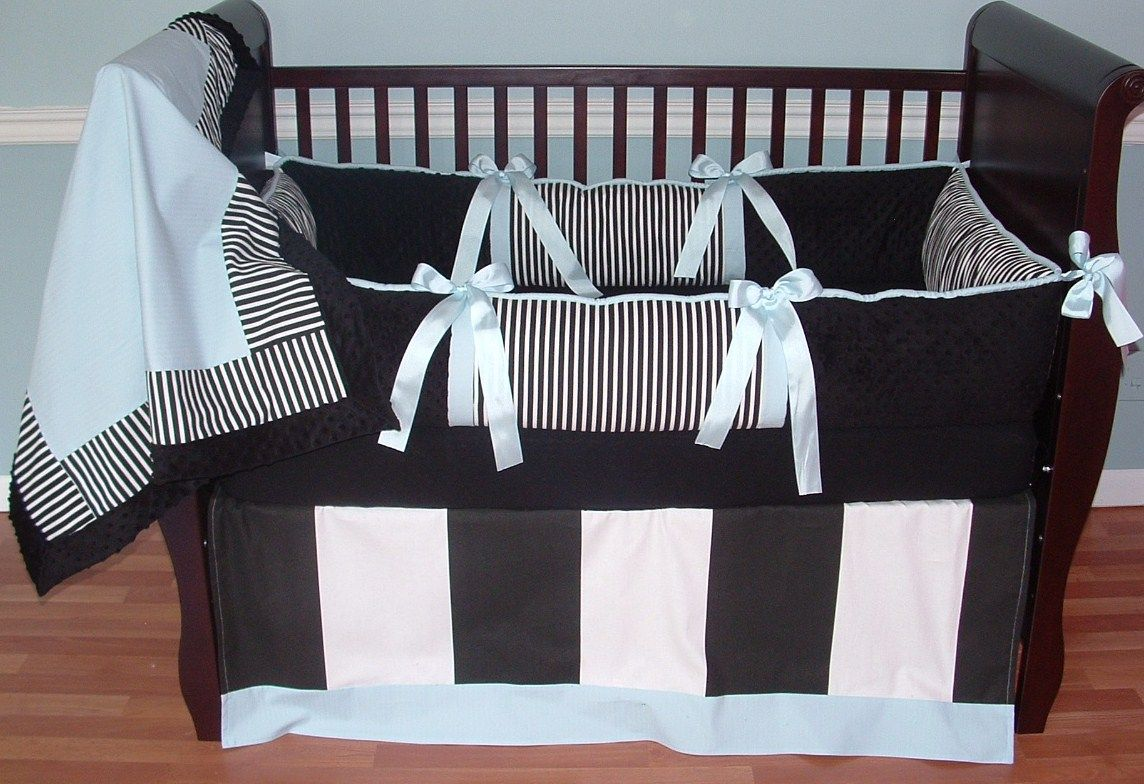 tiffany cribs skirt set blue girl crib baby black bedding