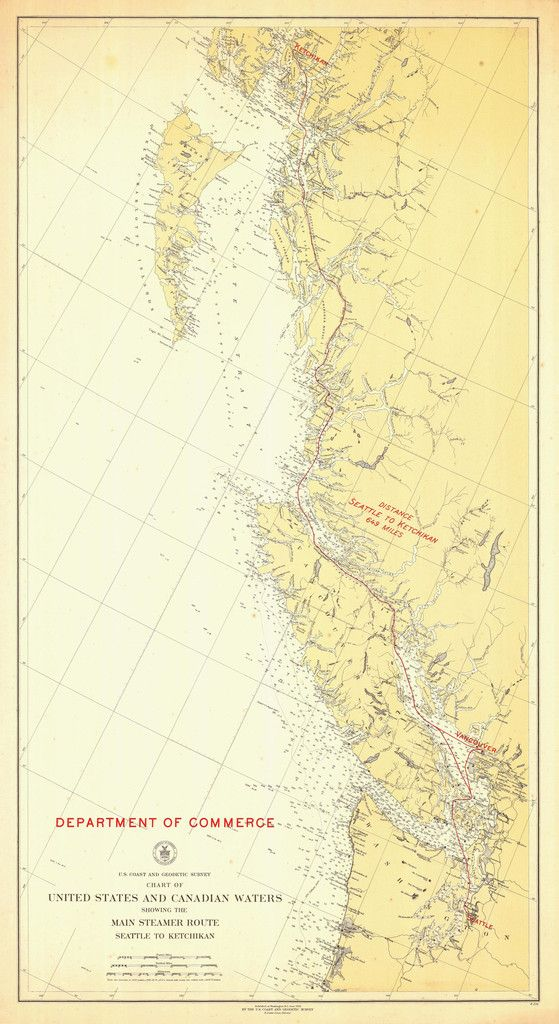 Steamer Route US-Canada Map - 1923 | Pacific Northwest & Alaska ...