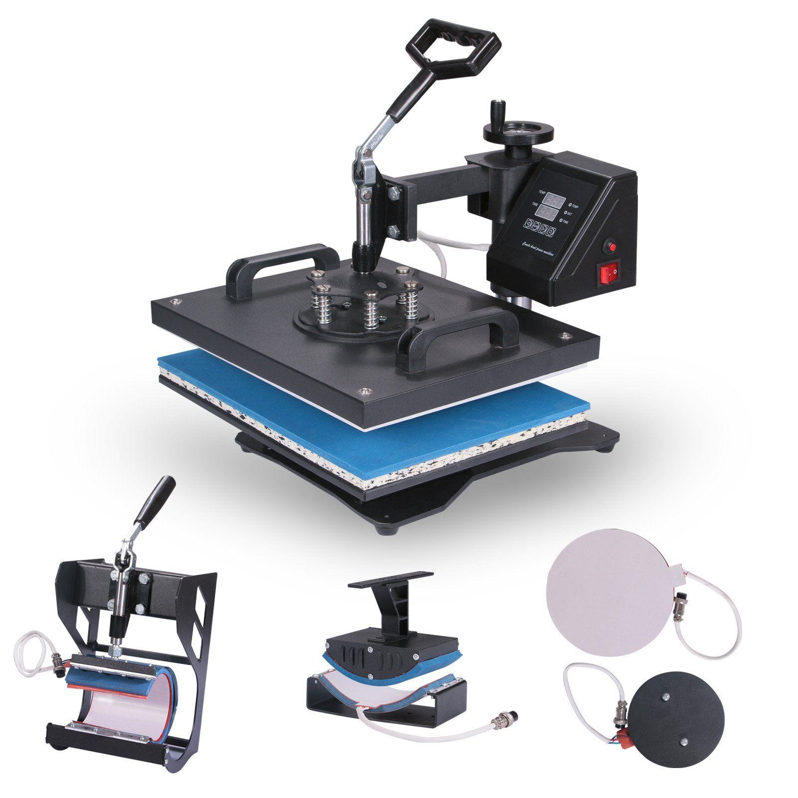 Vevor Heat Presses 12 X 15 Inch 5 In 1 Digital Multifunctional Sublimation T Shirt Heat Press Machine 1250w 360 Degree Rotation Heat Press Machine For T Shirts Best Heat