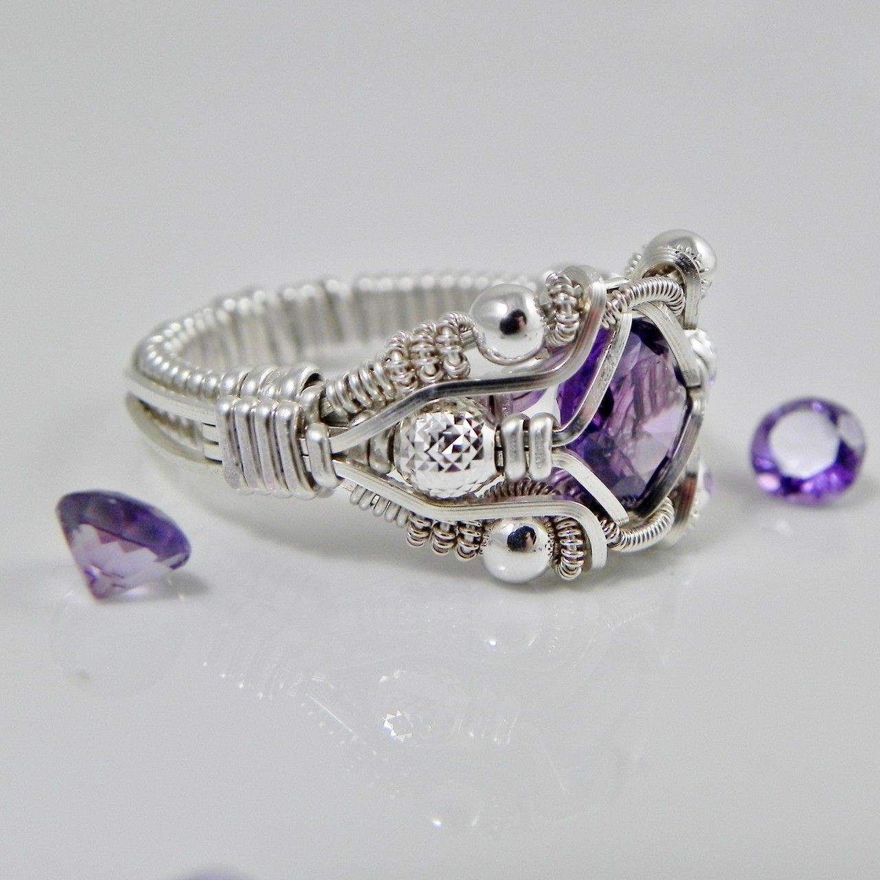 Gemstone Wire Wrapped Amethyst Ring Silver Handmade Fair Trade USA ...